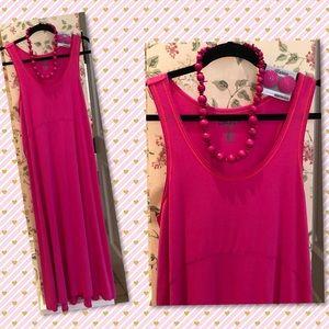 NWOT DKNY Ladies hot pink maxi dress.